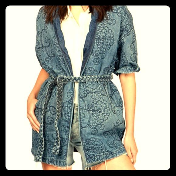 66030682b Lucky Brand Jackets & Coats | Final Sale Denim Kimono Wrap Jacket ...